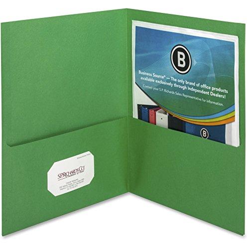 Business Source 2-Pocket Folders, 125 Sht Cap, Letter, 12