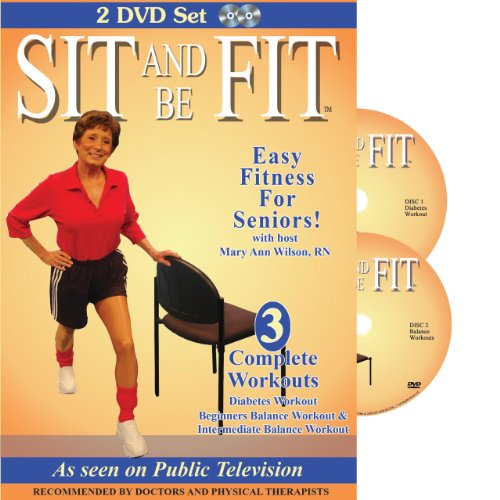 Sit & Be Fit: Diabetes & Balance Workouts: Senior Chair Fitness Exercise Award-Winning, 2 DVD Set, Stretching, Aerobics, Strength Training, and Balance. Improve flexibility, muscle and bone strength, circulation, heart health, and stability.