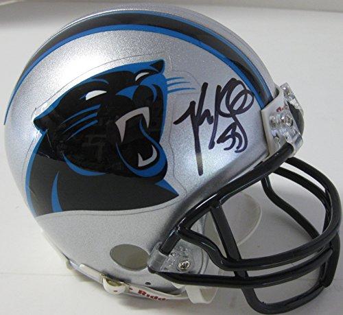 Luke Kuechly Carolina Panthers, Signed, Autographed, Mini Helmet, a COA with the Proof Photo of Luke Signing the...