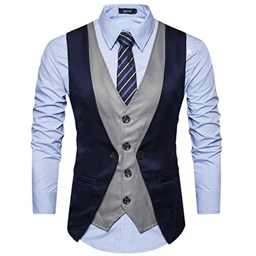 51Qu7CMk0PL. SS500  - Creative Mens Slim Fit Casual Waist Coat 36 Blue Grey