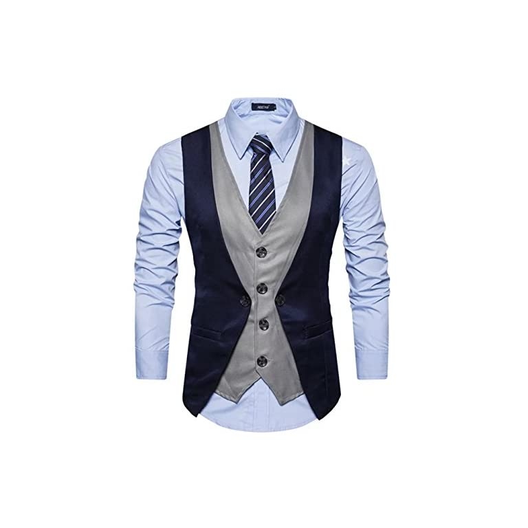 51Qu7CMk0PL. SS768  - Creative Mens Slim Fit Casual Waist Coat 36 Blue Grey