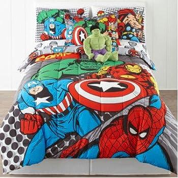Amazon Com 3pc Marvel Comics Avengers Twin Bedding Set