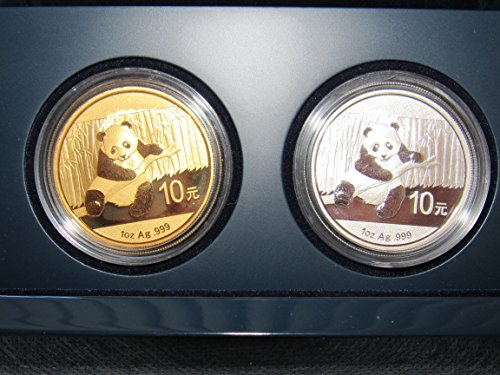 CN 2014 Gold Plated Silver Chinese Panda Two Coin Set in United States Mint Presentation Box (Photo 2 Coin Mint)