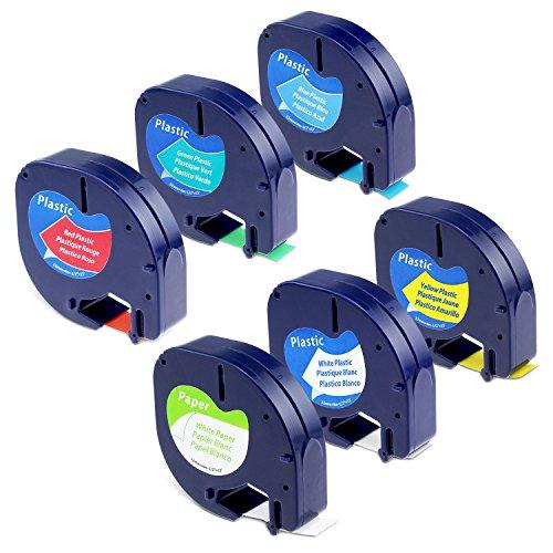6-Pack Equivalent DYMO LetraTag Label Tape Refill 91330 91331 91332 91333 91334 91335 12mm x 4m  Combo Set Compatible Dymo LetraTag Plus LT100H LT100T
