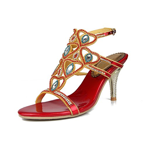 Comfort for Dress Sandals Evening Rhinestone High Stiletto amp; Summer Fall Party Red Female Crystal Shoes Grade Women's Wedding Sandals Leather Heel fw6qIHg