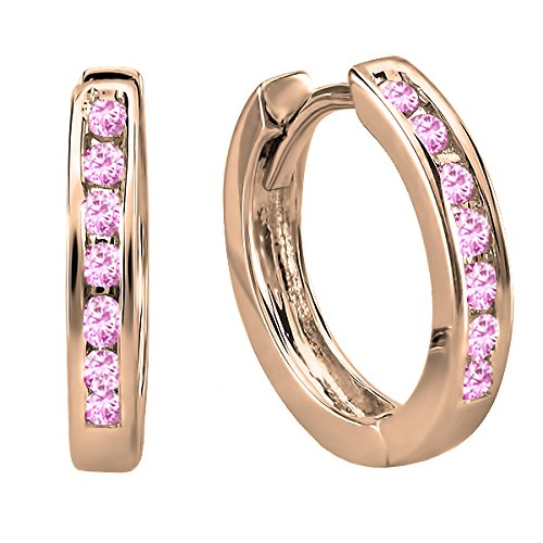 (Dazzlingrock Collection 14K Small Round Pink Sapphire Huggie Hoop Earrings, Rose Gold)
