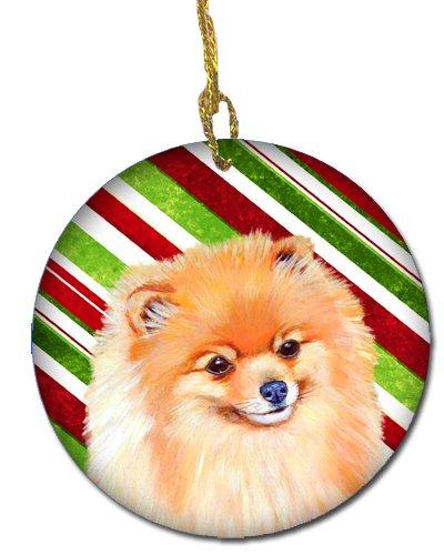 Pomeranian Christmas Ornament (Caroline's Treasures LH9260-CO1 Pomeranian Candy Cane Holiday Christmas Ceramic Ornament, Multicolor)