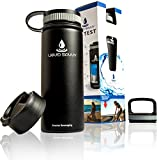 Liquid Savvy 18oz Insulated Water Bottle with 3 lids - Stainless...