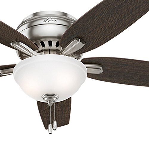 Hunter Fan 52 inch Hugger Ceiling Fan in Brushed Nickel with a Cased White Glass Light Kit, 5 Blade Renewed