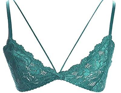 Marilyn & Main Women's Deep V Spaghetti Strap Floral Lace Bralette (M/L, Emerald Teal)