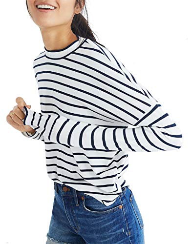 Madewell Long-Sleeve Mockneck Top in Stripe (M) from Madewell