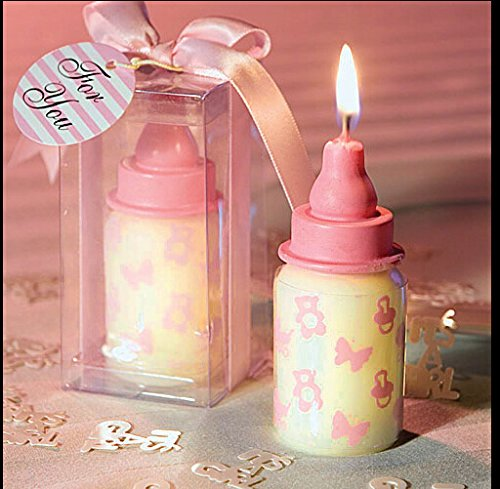 AiXiAng 12 Pack Cute Mini Pink Baby Feeder Style Handmade Smokeless Scented Candle Gift Boxed for Guests Keepsake Gift , Baby Shower Party Favors Deco…