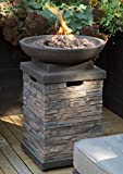 Realistic Stone-like Outdoor Patio Fire Pit Bowl with Free Cover. Get Ready for Entertainment in Your Backyard or Deck. This 30,000 BTU Propane Firepit Bowl Has Hideaway Storage for a 20lb Propane Tank and Also Comes with Clean Burning Lava Rocks For Sale