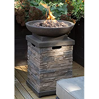 get ready for in your backyard or deck this btu propane firepit bowl has hideaway storage for a