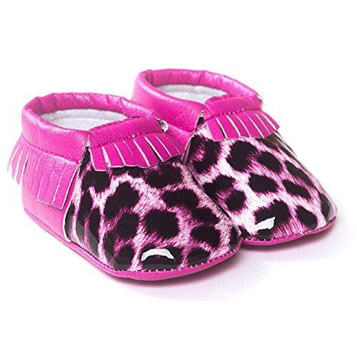 ESHOO bebé niños niñas borla mocasín de piel sintética suave suela zapatos 0–18M rojo rosa (b) Talla:0-6 meses leopard Rose