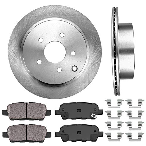 CRK12250 REAR 308 mm Premium OE 5 Lug [2] Brake Disc Rotors + [4] Ceramic Brake Pads + Clips