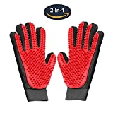 #6: Pet Grooming Glove,Gentle Deshedding Brush Glove Hair Remover Brush for Dogs,Cats & Horses with Long & Short Fur,Enhanced Five Finger Design -One Pair Left & Right[Red]