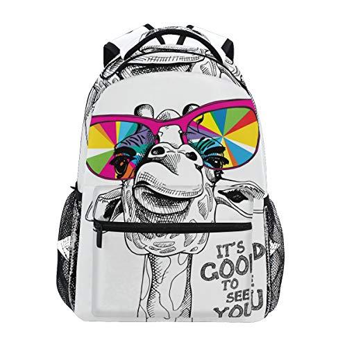 Tarity Cool Sunglasses Giraffe School Backpack Small Travel Bag Students Bookbags Teenagers Casual Daypacks Stylish Print Durable Backpack Laptop Computer Bag For Kids Boys Girls - Print Giraffe Bag Laptop