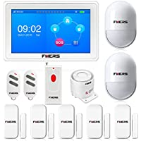 Fuers K7 2.4G WIFI/GSM 2-In-1 7 Inch Color Display Touch Pad Wireless Home/House Alarm System DIY Kit IOS/Android APP Control Voice Prompt Garden Alarm Tamper Door Sensor + 1PCS Panic Button