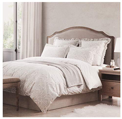 Italian Linen Duvet Cover - Tahari Home Vintage Damask Ornate Scroll Luxury Duvet Cover 3 Piece Bedding Set Antique Bohemian Paisley Medallion Taupe Tan Ivory Patterned 300tc Cotton Full/Queen or King (Queen, Washed Sand)