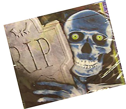 """Custom Made & Disposable {6.5"""" Inch} 16 Count of 2 Ply Mid-Size Size Square Food & Beverage Napkins, Made of Soft Absorbent Paper w/ Halloween Creepy Tombstone Party Style {Grey, (Tombstone Sayings For Halloween)"""