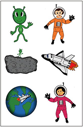 Premium Astronaut Tattoos, Space Party Favors, Temporary Tattoo ()