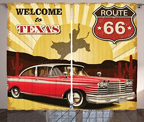 (Ambesonne Vintage Decor Curtains, Welcome to Texas Signboard Poster with Cadillac Art Car Cowboys Town Rodeo Decor, Living Room Bedroom Window Drapes 2 Panel Set, 108 W X 108 L Inches, Multi)