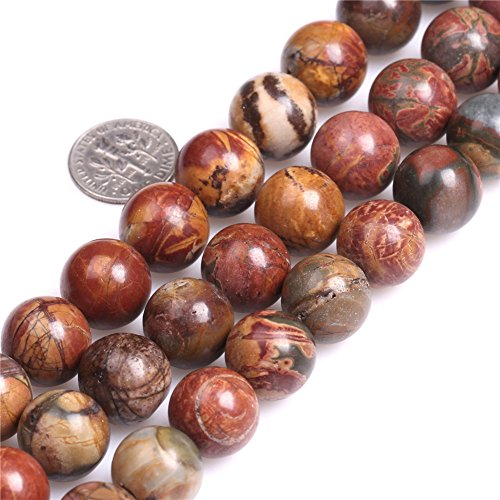 Jasper Multi Strand - SHG Store 14mm Natural Round Picasso Jasper Gemstone Loose Beads Strand 15 Inch Beads for Jewelry Making