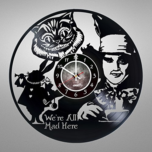 Alice in Wonderland Vinyl Record Wall Clock - Mad Hatter - Cheshire Cat - Get unique living room wall decor - Gift ideas for boys and girls, friends, children, men and women, teens