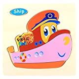 Janly Toys for Baby Colorful Wooden Puzzle Animal Educational Developmental Kids Training Toy Gifts (F)