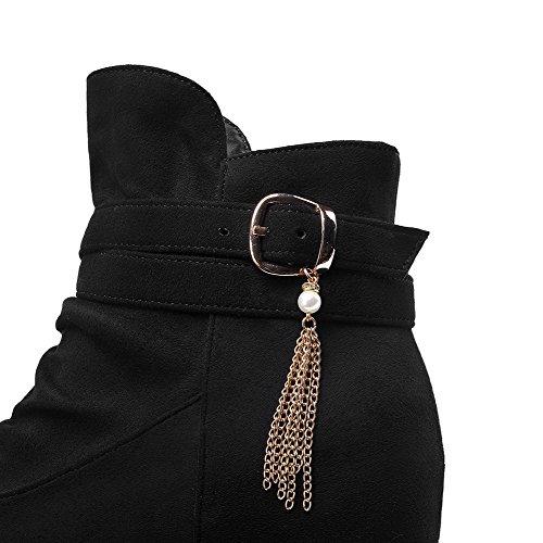 AllhqFashion Mujeres Sin cordones Puntera Redonda Cuña Caña Baja Botas con Ornamento Metal Negro