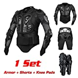 FOUR CLOVER Motorcycle Full Body Armor Protector Pro Street Motocross ATV Titan Sport Jacket Shirt XL + Pants Hockey Knight Gear + Knee Pad