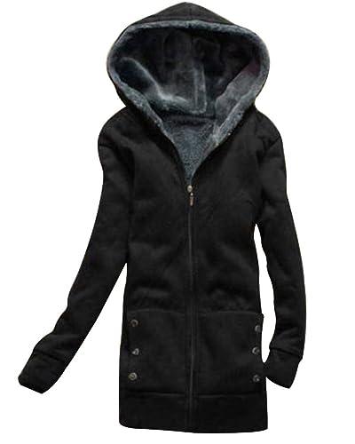 SaiDeng Mujer Cremallera Color Puro Cuello Con Capucha Abrigo Negro M