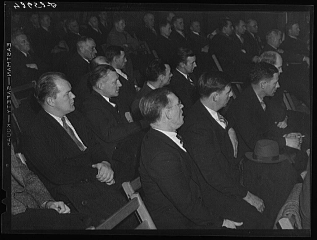 Reproduced Photo of Union meeting of Fore River shipyard workers IUMSWA-Industrial Union of Marine and Shipbuilding Workers of America. One of the topics discussed was defense h 1940 Delano C Jack 32a