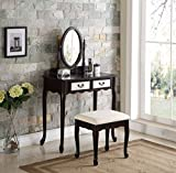 Mirrored Makeup Vanity 3-Piece Wood Make-Up Mirror Vanity Dresser Table and Stool Set, Espresso