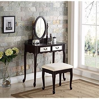 3 piece wood make up mirror vanity dresser table and stool set espresso kitchen. Black Bedroom Furniture Sets. Home Design Ideas
