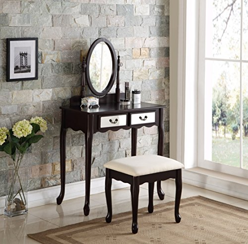 3-Piece Wood Make-Up Mirror Vanity Dresser Table and Stool Set, Espresso by eHomeProducts