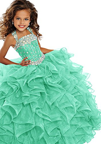 WZY Girls Crystal Beaded Ruffled Party Christmas Ball Gown Princess Pageant Dress (12, Mint Green) by WZY