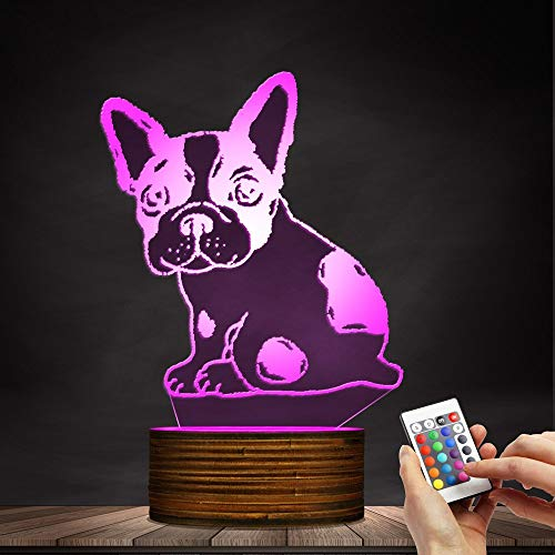 Novelty Lamp, Optical Illusion 3D LED Lamp Night Light French Bulldog, USB Powered Remote Control Changes The Color of The Light, Bedroom Table Lamp, Children's Gift, Home Decoration,Ambient Light by LIX-XYD (Image #7)