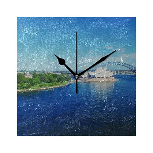 (ZSHMG Noiseless Wall Clock Beautiful Aerial View Sydney Skyline Square Silent Non Ticking Printing Acrylic 7.8 Inch Womens Wall Clock)