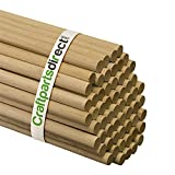 5/8 Inch x 48 Inch Wooden Dowel Rods - Unfinished Hardwood Dowels For Crafts & Woodworking - By Craftparts Direct - Bag of 100