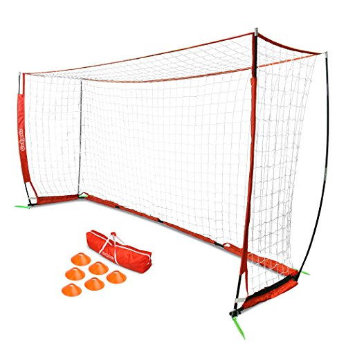 (GoSports 12' Elite Soccer Goal - Play & Train Like The Pros - Includes 1 12'x6' Goal, 6 Cones & Carrying Case)