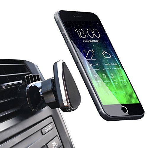 Mag Air - Magnetic Phone Car Mount, NOVOLAND Cell Phone Mount Holder for Car Air Vent Strong Magnet Easy Bite-lock 360 Rotation for Apple iPhone X 8 7 6 6s Plus Samsung Galaxy S8 S7 S6 Edge Note 8 7 6 (Black)