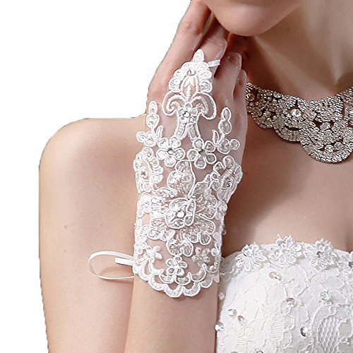 Beautydress Short Lace Fingerless Rhinestone Bridal Gloves for Wedding Party 155(I)