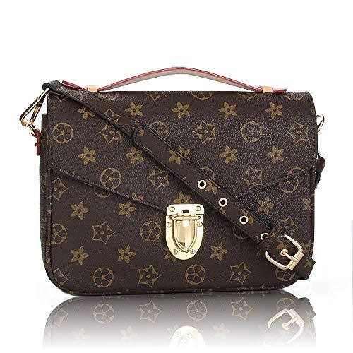Olyphy Designer Shoulder Bags for women, Retro Crossbody Purse and Handbags, Monogram messager bag (black)