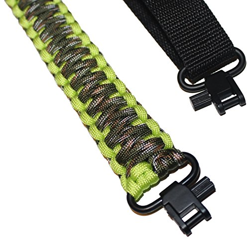 Estobi Outfitters Gun Sling for Rifle Shotgun or Crossbow - Extra Strong 550 Paracord - 2 Point Adjustable Strap with Metal Swivels, Fluorescent Green Camo (Crossbow Pistol Sling)