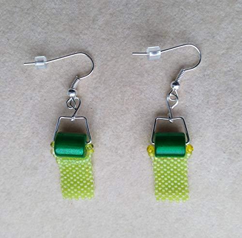 Beadwoven Toilet Paper Green Earrings