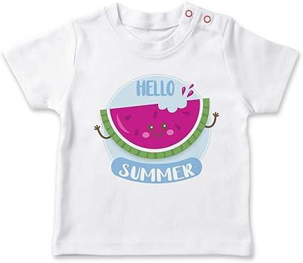 SUPERMOLON Camiseta bebé Hello Summer Sandía Blanco 0-1 años: Amazon.es: Bebé