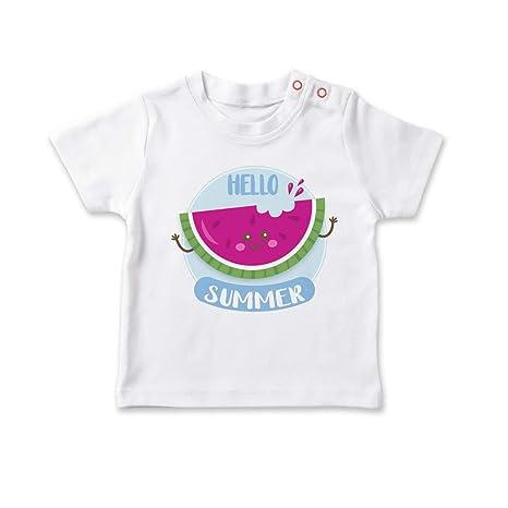 SUPERMOLON Camiseta bebé Hello Summer Sandía Blanco 0-1 años ...