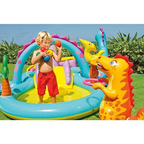 Kids Summer Fun Backyard Fun Play Center Outdoor Intex Dinoland Inflatable Play Center, 118'' X 90'' X 44'', for Ages 3+ by Let's Journey into Fashion (Image #2)